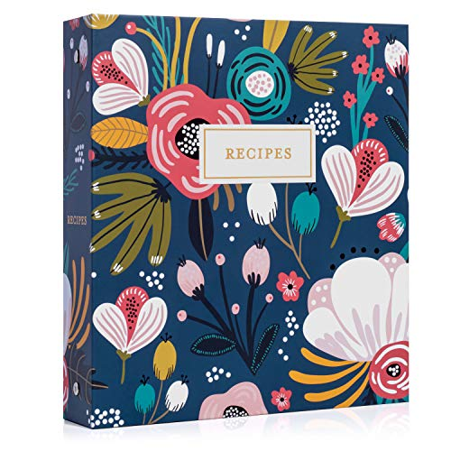 Jot & Mark Recipe Organizer 3 Ring Binder Set (Garden Floral) | 50 Recipe Cards 4x6, Rainbow Full Page Dividers and Plastic Page Protectors