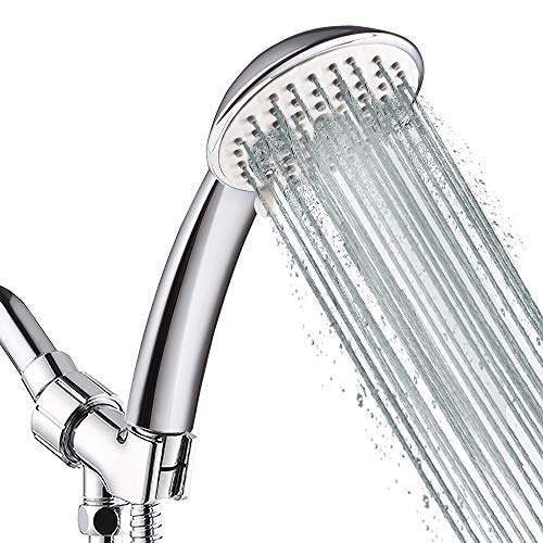 5-Setting High Pressure Handheld Shower Head, NearMoon Multi-functions Powerful Spray Hand Held Showerhead with Adjustable Angle Bracket, Chrome (with 60 Inches Stainless Steel Hose)