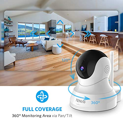 TENVIS Security Camera- Wireless Camera, IP Camera with Night Vision/ Two-way Audio, 2.4Ghz Wifi Indoor Home Dome Camera for Pet Baby, Remote Surveillance Monitor with MicroSD Slot, Android, iOS App