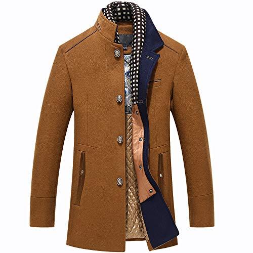 Biutimarden Warme Wolle Coat Wintermantel Jacke Herrenmantel Business Mantel Frei Abnehmbares Futter mit Soft Touch Plaid Stilvollem Ausschnitt (Khaki L)