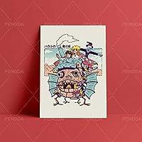 帆布の絵 JHowlの動く城キャンバスポスターモダンな家の装飾プリントアパネアアニメ絵画壁アートワークリビングルームのモジュラー画像 50x70cm