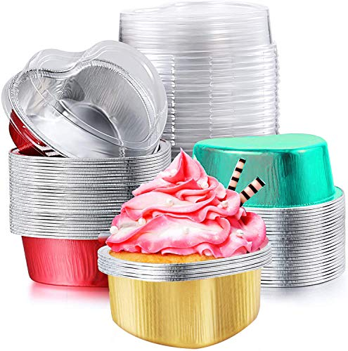 20pcs Aluminum Disposable Cupcake Cups Aluminum Foil Muffin Liners Cup Pudding Cupcakes Holder Aluminums Foil Cupcake Baking Cups Holders Ramekins Pans with Lids Valentine Heart Shaped Rose-gold