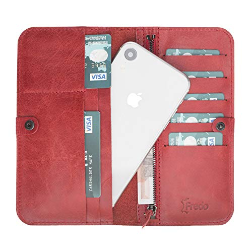 FREDO dames portemonnee hoes - van echt leer compatibel met iPhone 11 Pro Max 6.5