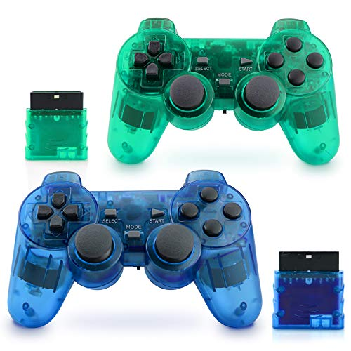 Apzia Wireless PS2 Controller, Dual Shock Gamepad Remote for Sony PS2/Playstation 2 (Green & Blue)
