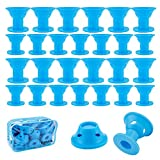 40 Pcs Magic Hair Rollers, 20 Large and 20 Small Blue Silicone Hair Curlers for women girls