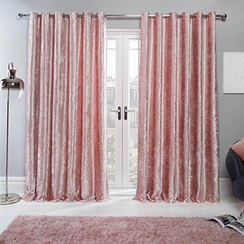 Sienna Par de Cortinas de Terciopelo Arrugado con Ojales en la Parte Superior, Color Rosa Rubor, 116,8 x 137,2 cm