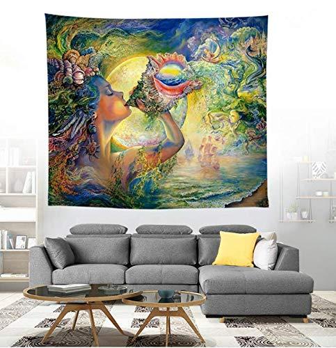 Aquarelle Art Conque Déesse Imprimé Tapisserie Mur Tenture Grande Serviette De Plage Tapisserie En Polyester Tapis De Yoga 150 * 200 Cm