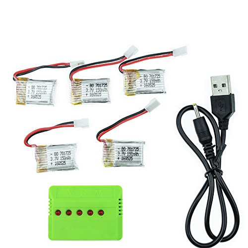 3.7v 150Mah 25C 1s Li-po Battery for JJRC H8 Mini Drone etc (5 Pcs and 5 in 1 Charger)