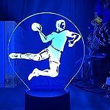 Lámpara LED 3D 7 colores USB Deporte Jugador de balonmano Figura Tienda familiar Ambiente romántico niños amigos regalos de vacaciones
