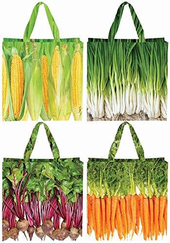 Esschert Design Einkaufstasche Gemüse, Mais/Zwiebel/Lauch/Karotten Optik, Design Sortiert, Kunststofftasche