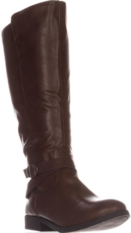 SC35 Madixe Wide-Calf Riding Boots, Cognac, 11 US