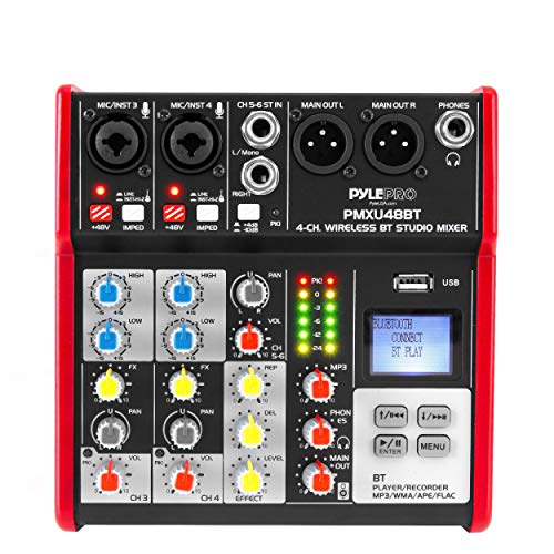 pylepro preamps Pyle Sound 4 Channel Bluetooth Compatible Professional Portable Digital DJ Console W/USB Mixer Audio Interface-Mixing Boards for Studio Recording PMXU48BT.5