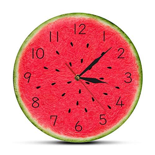 TTbaoz Reloj de Pared Moderno de sandía de 30 cm de diámetro con Verano, Cocina Tropical Digital, Estilo Art déco, Fruta, Reloj de Pared Redondo de Cuarzo silencioso