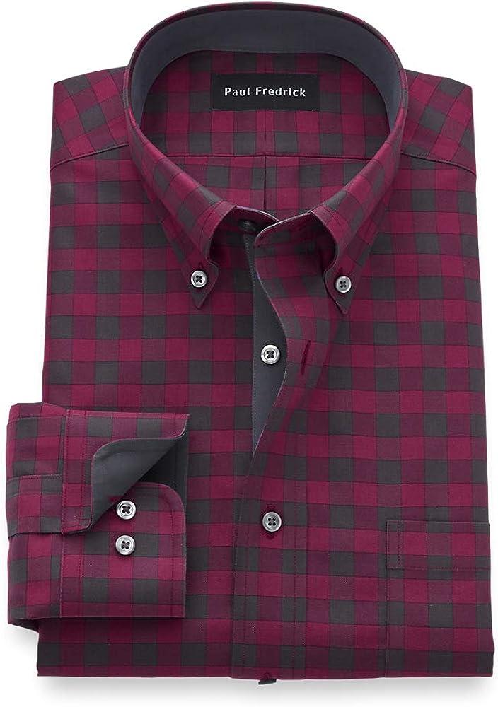 Paul Fredrick Men's Slim Fit Non-Iron Cotton Gingham Dress Shirt