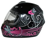 Protectwear Casco de moto púrpura negra disena flores FS-801-SL Tamaño S