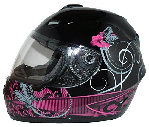 Protectwear Casco moto nero viola per le donne, disegno fiori, FS-801-SL,Taglia S