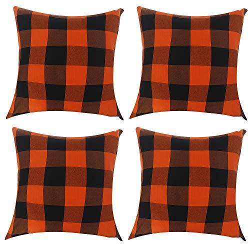 Poluka 4 fundas de almohada clásicas de cuadros rojos y negros a cuadros de búfalo, funda de almohada cuadrada con cremallera, para decoración del hogar, dormitorio, coche, sofá, 45 x 45 cm