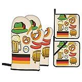 Set di 4 guanti da forno e presine,Oktoberfest simboli birra salsiccia di frumento e salatini colorati disposizione bavarese,Guanti con cuscinetti caldi resistenti per cuocere