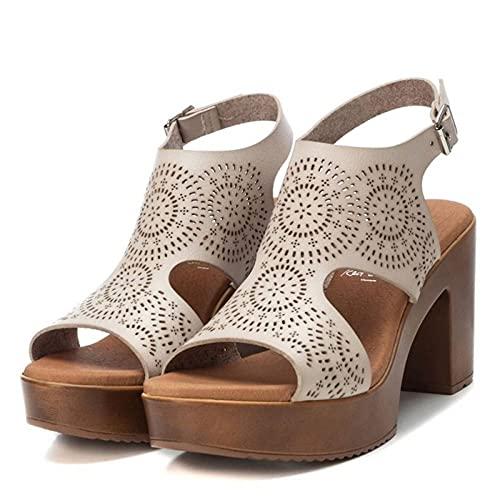 Sandalia de plataforma y tacón para mujer - HIELO, 40