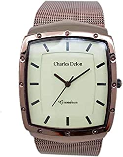 Charles Delon Mens Quartz Watch, Analog Display and Stainless Steel Strap 4992 GNIN