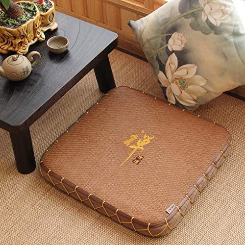 weiwei Quadrat Futon Kissen,Verdickt Meditation Haushalt Tatami Gewebt Kissen