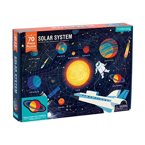 """Mudpuppy Solar System Puzzle, 70 Pieces, 23""""x16.5"""", Great for Kids Ages 5-9, Learn the Solar System with Planet-Shaped Puzzle Pieces, Double-Sided Space Puzzle with Planet Names"""