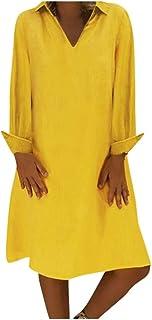 VEMOW Falda Larga Mujer Vestido sólido con Cuello Redondo y Abotonado con Cuello Redondo Vestido Informal con Botones