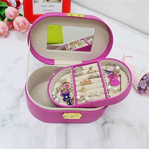 Preisvergleich Produktbild MYPNB Badezimmerzubehör Runde Leder High-End-Schmuck Schmuck Ring Schmucksacheuhrgeschenk Aufbewahrungsbox Mädchen Geschenk,  weiblich @ Rosa (Color : Pink)
