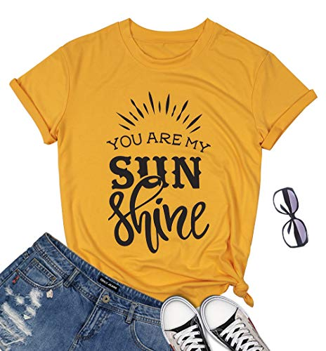 BANGELY You are My Sun Shine T Shirt Sunshine Vacation Tees for Women Letter Graphic Funny Shirts Summer Casual Tops Size Large (Yellow)