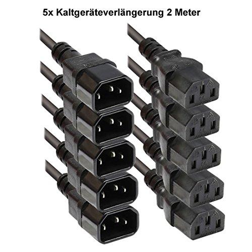 Faconet® Kaltgeräteverlängerung 1.8M Computer Stromkabel Verlängerung Netzanschluss-Verlängerung um 1.8 Meter (5 Stck)