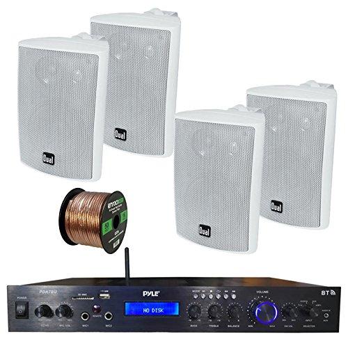 Pyle PDA7BU Amplifier Receiver Stereo, Bluetooth, FM Radio, USB Flash Reader, Aux Input LCD Display, 200 Watt, with 4X Dual 100 Watt 3 Way Indoor Outdoor Studio White Speakers, 50 FT Speaker Wire