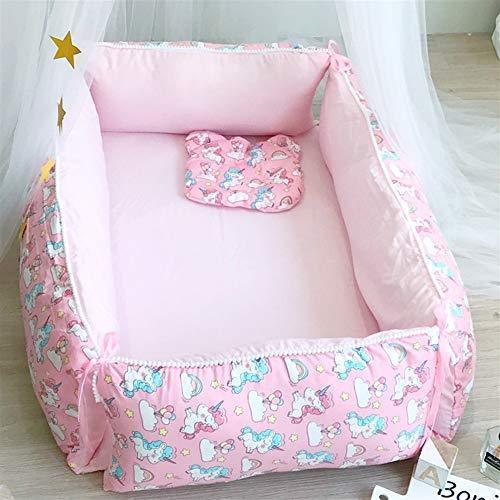 Rz-smb Multifunktionale Babybett Zaun Nordic waschbaren Baumwollbaby Cartoon transportables Bett Bett (Color : Unicorn)