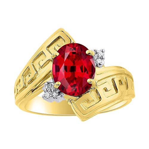 Juego de anillos de diamante y rubí en plata chapada en oro amarillo – Diseño griego – Anillo de piedra natal de color
