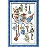 Utensilios de cocina pinturas de dibujos animados contados Kits de punto de cruz DMC 14CT 11CT conjunto de punto de cruz DIY bordado decoración para el hogar