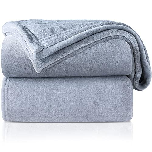 RATEL Mantas para Cama Gris Claro 230 × 270 cm, Mantas para Sofa de Franela Reversible, Mantas Ligeras de 100% Microfibra - Fácil De Limpiar - Extra Suave Cálido