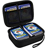 Card Holder Compatible for PM TCG Cards,Phase 10, C.A.H. Monopoly Deal, All Card Game Storage Box Binder Fits Up 400+ Lycanroc Gx/Assorted/with 2 Removable Divider and Strap(Black)