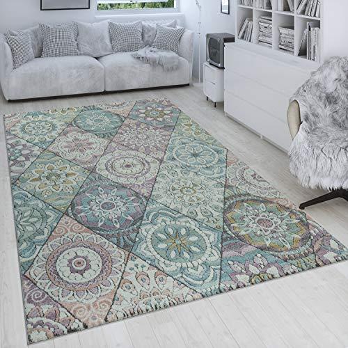 Paco Home Retro Teppich Bunt Wohnzimmer Rauten Muster Boho Stil Blumen Design 3-D Kurzflor, Grösse:80x150 cm