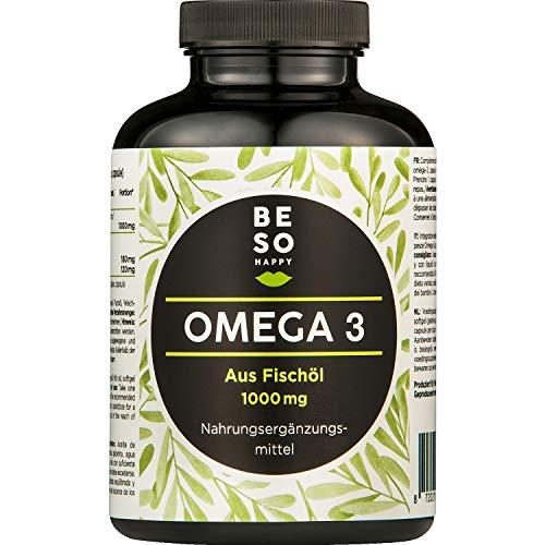 BeSoHappy® Omega 3 aus Fischöl Nahrungsergänzungsmittel | 1000mg, 120 Hochdosierten Kapseln | 180 EPA, 120 DHA pro Tagesdosis |Versorgung für 4 Monate| Vegan | Laborgeprüft und Getestet in Deutschland