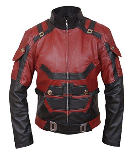 F&H Men's Genuine Leather Daredevil Matt Murdock Charlie Cox Jacket 2XL Red