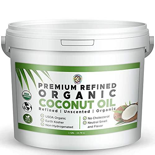 Earth Circle Organics Premium Ultra Pure REFINED Organic Extra Virgin Coconut Oil - Steam Refined, Keto & Paleo Friendly - Pure Coconut Oil For Skin & Hair Care, Cooking, Baking & More - 1 Gallon