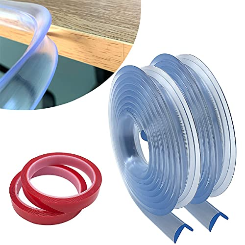 2 piezas Protecciones para bordes y esquinas,Protecciones de esquina de seguridad de 4 metros, 15 mm de grosor ensanchado Protección transparente de bordes para niños, bebés, niños