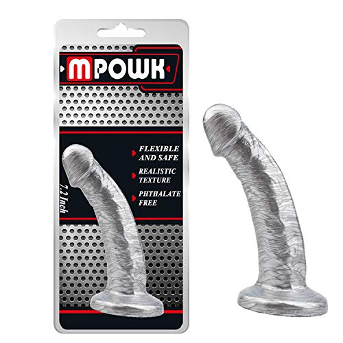 7 inch Silver Realistic Ðịldo for Men Gay Beginner Wáterproof Silicone Coċk with Strong Suction Cup hxamk
