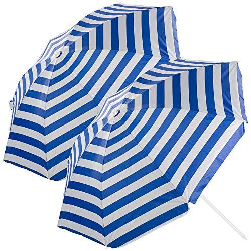 Royal Gardineer Schirm Strand: 2er-Set 2-teilige Sonnenschirme mit Sonnenschutz UV30+, Tasche, Ø160cm (Sonnenschirm Strandschirm)