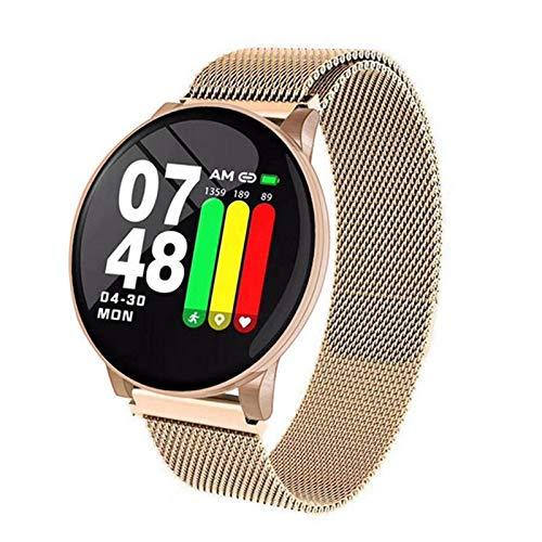YWS Redondo Bluetooth Impermeable W8 Sports Smart Watch Pulsera Pulsera para Hombres Y Fitness para Mujer para Android iOS,E