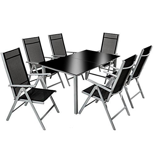 TecTake 800355 Aluminium Polyrattan 6+1 Sitzgarnitur Set, 6 Klappstühle & 1 Tisch mit Glasplatten - Diverse Farben (Silbergrau | Nr. 402167)