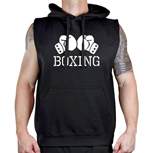 Interstate Apparel Men's Boxing Gloves V434 Sleeveless Vest Hoodie Medium Black