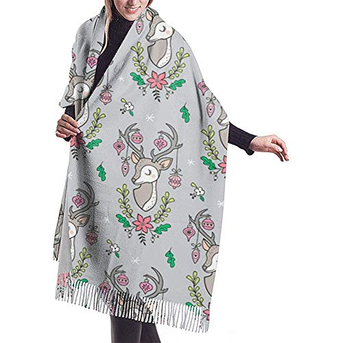Regan Nehemiah Kerstmis hertenhoofd met ornamenten met bloemen op lichtgrijze sjaal wrap winter warme sjaal cape grote zachte gezellige kasjmiersjaal wrap