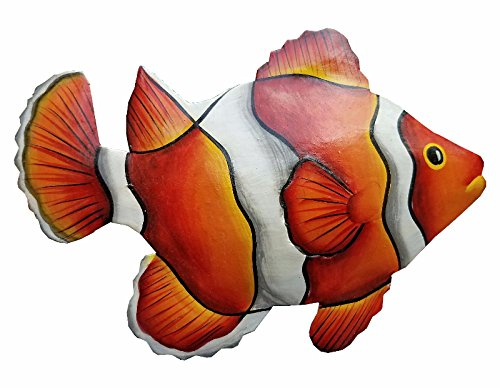All Seas Imports Hand-chiseled and Painted Tropical Metal Art Wall Decor Fish