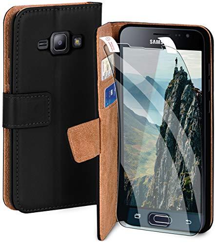 moex Premium 360 Grad Schutz Set passend für Samsung Galaxy J1 (2016) | Solider Handy Komplett-Schutz [Hülle + Folie] Beidseitige Abdeckung mit Handytasche & Schutzfolie, Schwarz