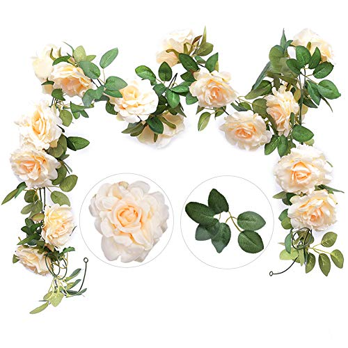 Felice Arts 2PCS(13.8FT) Artificial Rose Vine Silk Flower Garland Hanging Fake Roses Flowers Plants for Hotel Office Wedding Home Party Garden Craft Art Decor,Champagne